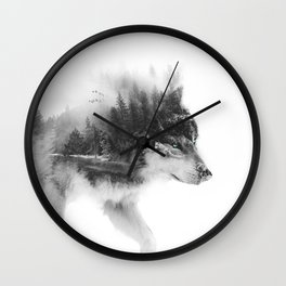 Wolf Stalking Wall Clock