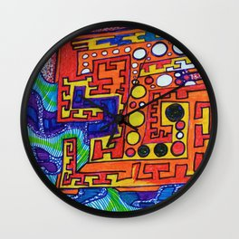 """Alan J Eichman Abstract 0030 """"cosmic crate floating on the infinite sea"""" Wall Clock"""
