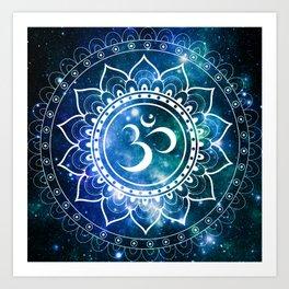 Om Mandala : Blue Green Galaxy Art Print