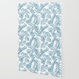 Gorgeous Blue Tropical Leaves + Flowers Wallpaper