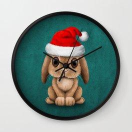 Cute Floppy Eared Baby Bunny Wearing a Santa Hat Blue Wall Clock