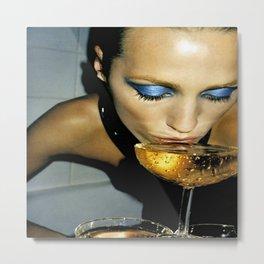 Champagne Slurp Metal Print