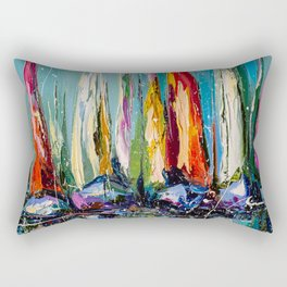 Boats in the harbor Rectangular Pillow