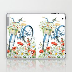 Blue bike & red poppy Laptop & iPad Skin