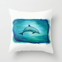 psychadelic Throw Pillows featuring Indigo Lagoon ~ Dolphin Watercolor by Amber Marine