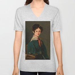 "Jean-Baptiste-Camille Corot ""Mme Lemaistre, née Blanche Sennegon, Niece of Corot"" Unisex V-Neck"