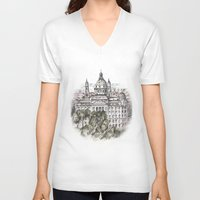 budapest hotel V-neck T-shirts featuring Budapest Art by Daria Kotyk
