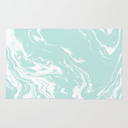 Miya - spilled ink abstract swirl marbled painting marble mint white texture cell phone case Rug