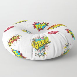 Pow Grrr Boom Thwack Comic Book Sounds Art Floor Pillow