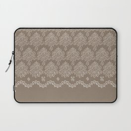 Coffee Color Damask Chenille with Lacy Edge Laptop Sleeve