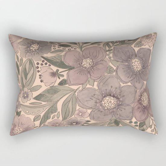 Watercolor . Flowers retro . Rectangular Pillow