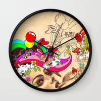 pills Wall Clocks featuring Happy Pills by Victoria Viray