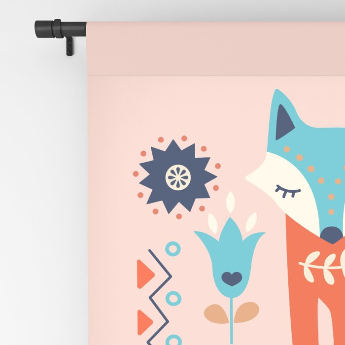 Soft And Sweet Scandinavian Fox Folk Art Blackout Curtain