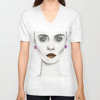 cara V-neck T-shirts featuring Cara by Vicky Ink.