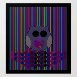 owl/colorful/bright/ Art Print