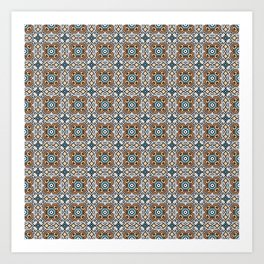 orange and blue points - repeating symmetrical pattern  Art Print
