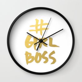 Gold Foil Girl Boss Inspiration Quote Office Boss Babe Brushstroke Watercolor Ink Classic Wall Clock