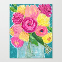 Bouquet of Flowers, Pink and Yellow Flowers, Painting Flowers in Vase Canvas Print