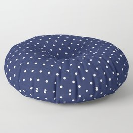Small White Polka Dots On Navy Blue Background Floor Pillow