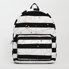 Vintage Black and White Stripes Gold Geometric Pattern Backpack