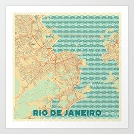 Rio de Janerio Map Retro Art Print
