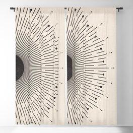 Black Sunburst Minimal Sun, Radiant Sun, Abstract Geometric Art, Mid Century Boho Decor Blackout Curtain