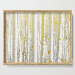 Gold Birch Forest Serving Tray