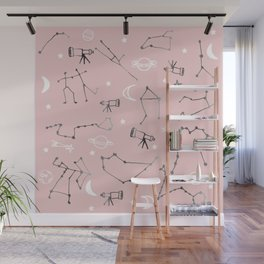 Astrology Pattern Pink #homedecor Wall Mural