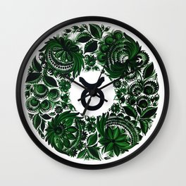 Taurus in Petrykivka Style (without artist's signature/date) Wall Clock