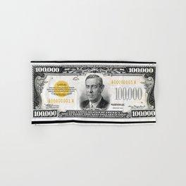 Vintage 1934 $100,000 Dollar Bill Gold Certificate Woodrow Wilson Wall Art Hand & Bath Towel