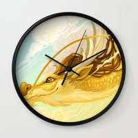 asian Wall Clocks featuring Asian Dragon by Sunset Dragon