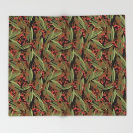 Flowering Gum - Black Throw Blanket