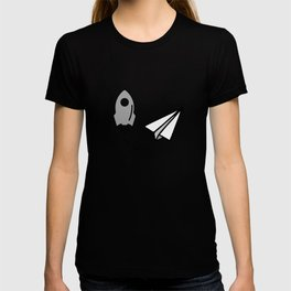 Rocket and origami paper airplane T-shirt