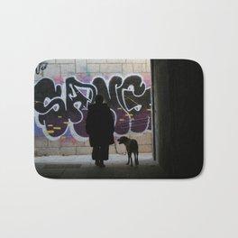 Woman and dog, graffiti Bath Mat