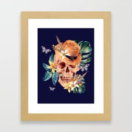 Tropical Latin Skull With Straw Hat Monstera Leaves South American Floral Kingdom Framed Art Print
