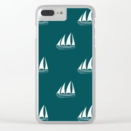 White Sailboat Pattern on teal blue background Clear iPhone Case