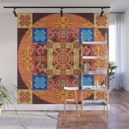 Illuminated Tibetan Modern Handmade Fractal Mandala Wall Mural