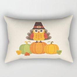 THANKSGIVING OWL IN TURKEY COSTUME ON PUMPKINS Rectangular Pillow