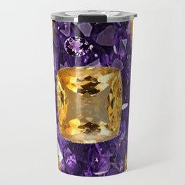 PURPLE AMETHYST & GOLDEN TOPAZ GEM CRYSTALS ART Travel Mug
