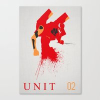 evangelion Canvas Prints featuring Evangelion Unit 02 by DaveBot