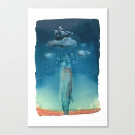 Moby Dick Dreams - Watercolor - Sperm Whale Canvas Print