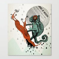 chameleon Canvas Prints featuring CHAMELEON by taniavisual