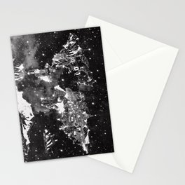 world map galaxy black and white Stationery Cards