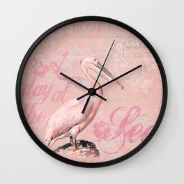 Retro Pelican Vintage Style Illustration Wall Clock