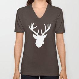 Deer Head: White Unisex V-Neck