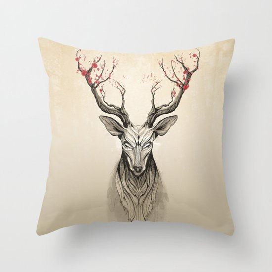 Throw Pillows With Deer : Deer tree Throw Pillow by Rafapasta Society6