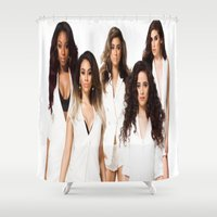 fifth harmony Shower Curtains featuring Fifth Harmony by Raquel S