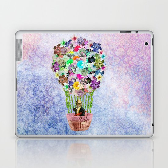 Teal Pink Vintage whimsical cat floral Air balloon Laptop & iPad Skin