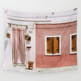 Sunny pink house Wall Tapestry