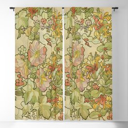 """Alphonse Mucha """"Printed textile design with hollyhocks in foreground"""" Blackout Curtain"""